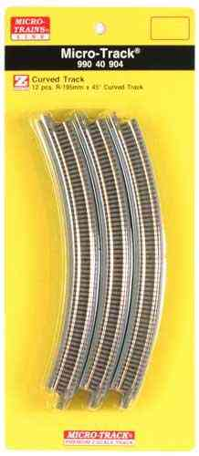 Micro-Track 45 degree Curved Track / 45 Grad gebogenes Gleis (12 Pack)