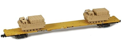 89' RTTX Flat Car - yellow - 2 x M548 Tracked Cargo Carrier