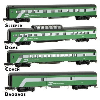 Burlington Northern Passenger Car 4-pack